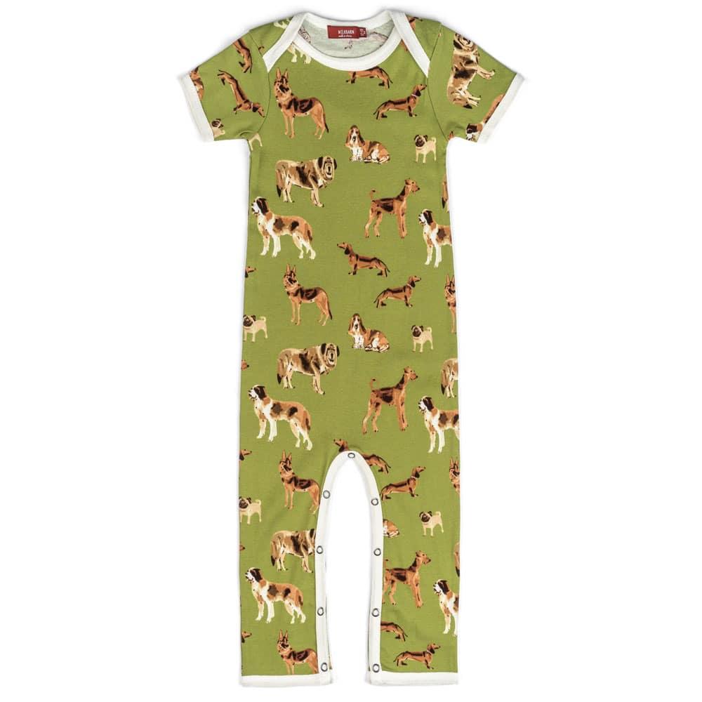 Green Organic Cotton Romper or Jumpsuit in the Green Dog Print by Milkbarn Kids