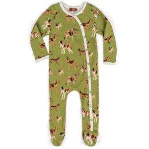 Milkbarn Kids Organic Baby Footed Romper in the Green Dog Print
