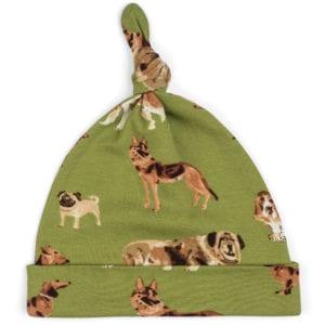Milkbarn Kids Organic Knotted Hat or Beanie in the Green Dog Print