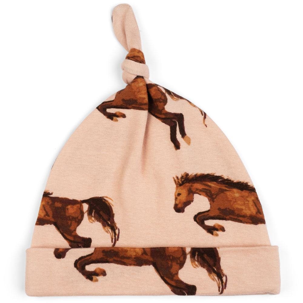Milkbarn Kids Organic Knotted Hat or Beanie or Beanie in the Horse or Stallion or Mare Print