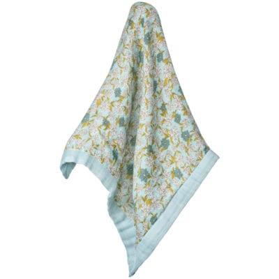 Mini Lovey Security Blanket in the Blue Floral Print by Milkbarn Kids Unfolded