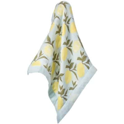 Newborn and Baby Mini Lovey Blanket in the Lemon Print made of a Organic Cotton and Bamboo Blend by Milkbarn Kids Unfolded