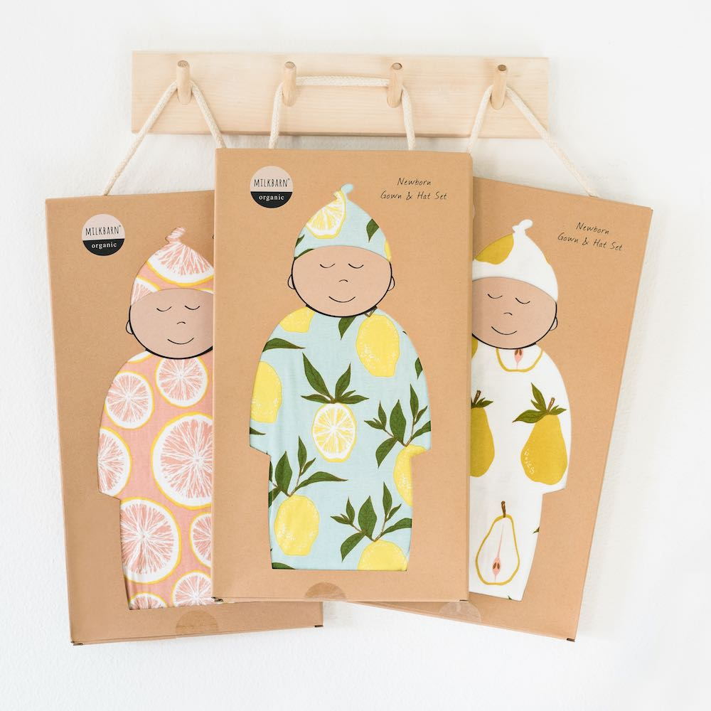 Milkbarn Gown and Hat Set Packaged in a Kraft Gift Box