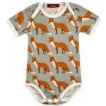 Milkbarn Kids Organic Baby One Piece or Onesie in the Orange Fox Print