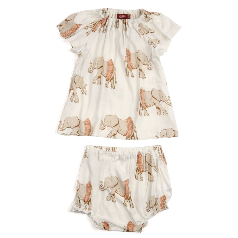White or Natural Color Baby Girl Bamboo Dress and Bloomers with the Tutu Elephant Print by Milkbarn Kids