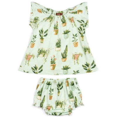 Mint or Light Green Baby Girl Bamboo Dress and Bloomers with the Potted Plants and Succulents Print by Milkbarn Kids