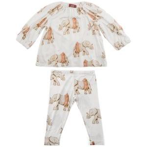 Bamboo Baby Long Sleeve Dress and Legging Set in the Tutu Elephant Print by Milkbarn Kids