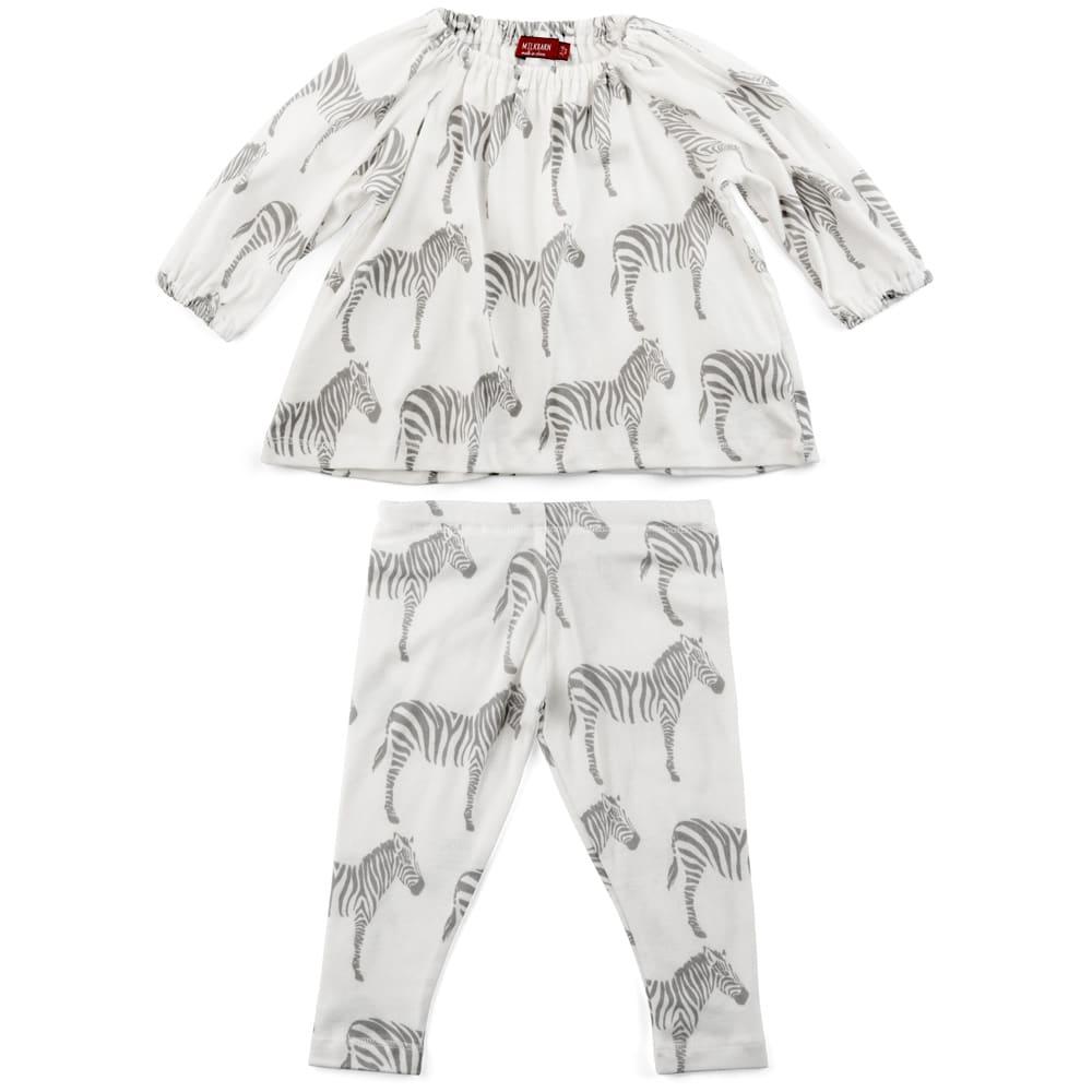 Baby Girl Organic Cotton Long Sleeve Dress and Legging Set in the Grey Zebra Print by Milkbarn Kids