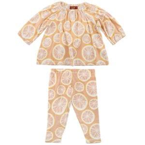 Baby Girl Organic Cotton Dress and Legging Set in the Grapefruit Print by Milkbarn Kids