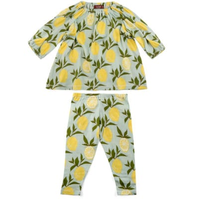 Baby Girls Organic Cotton Dress and Legging Set in the Lemon Print by Milkbarn Kids