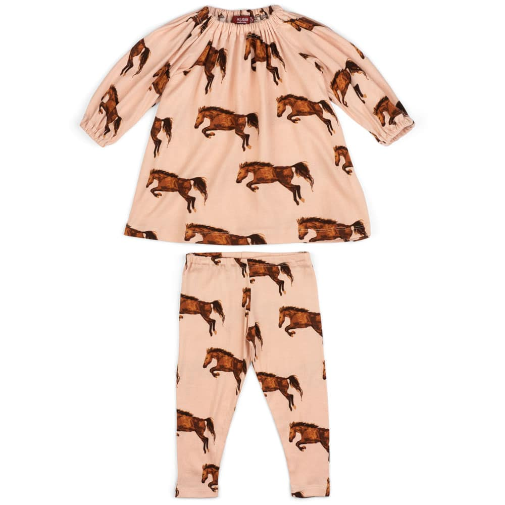 Rose or Light Pink Baby Girl Organic Cotton Dress and Leggings with the Horse or Stallion or Mare Print by Milkbarn Kids