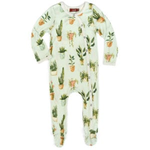 Milkbarn Kids Bamboo Baby Footed Romper in the Potted Plants Print