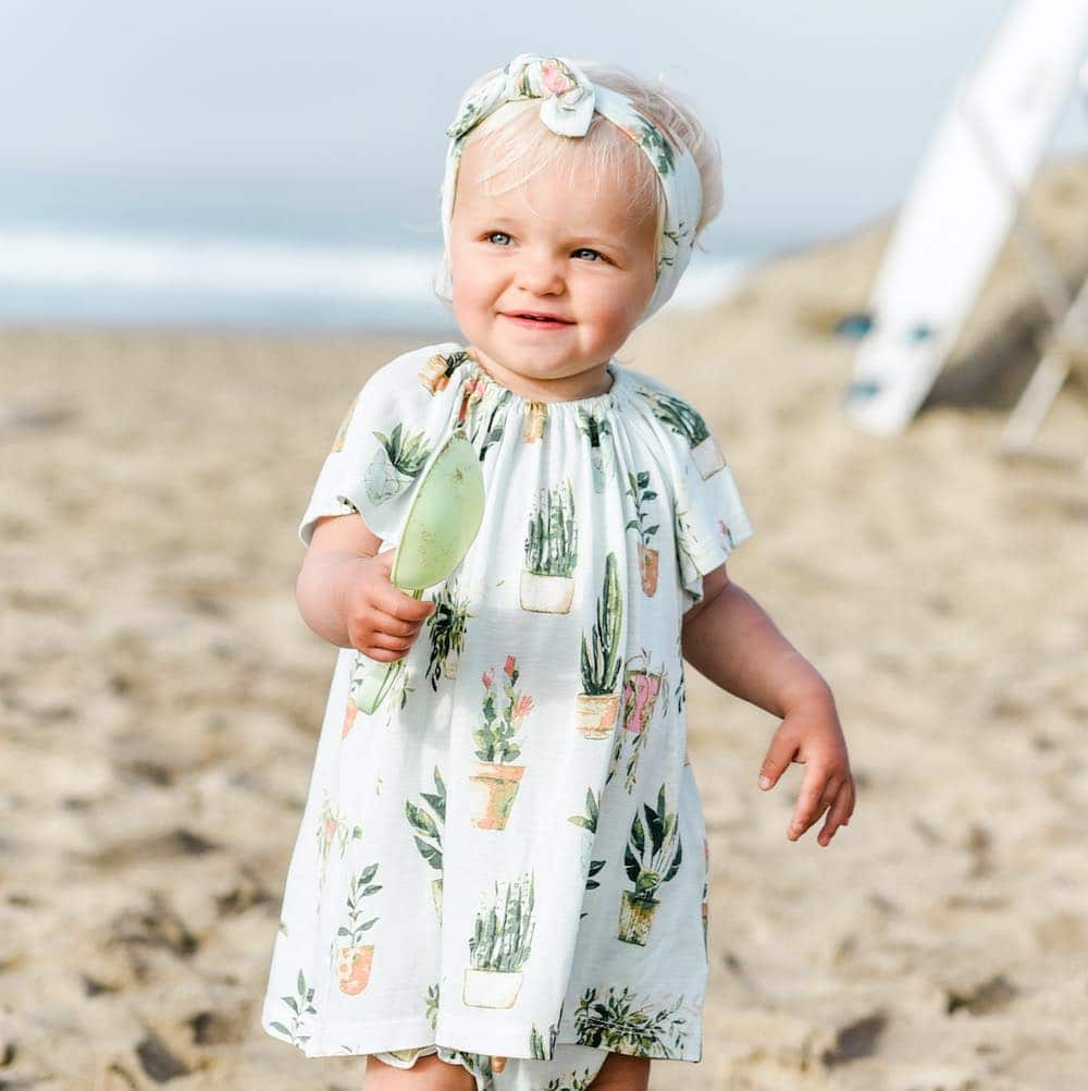 Milkbarn Dress and Bloomer Set in Bamboo Potted Plants Print
