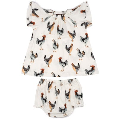White Background Baby Girl Organic Cotton Dress and Bloomers with the Chicken and Rooster Print by Milkbarn Kids