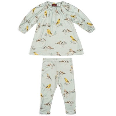 Light or Pale Blue Baby Girl Bamboo Dress and Leggings with the Blue Bird Print by Milkbarn Kids