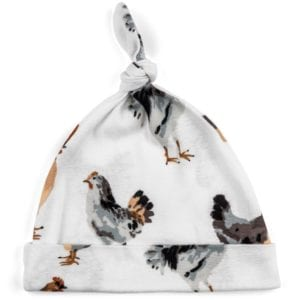 Milkbarn Kids Organic Knotted Hat or Beanie in the Chicken and Rooster Print