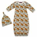 Milkbarn Kids Organic Gown and Hat Set in the Orange Fox Print