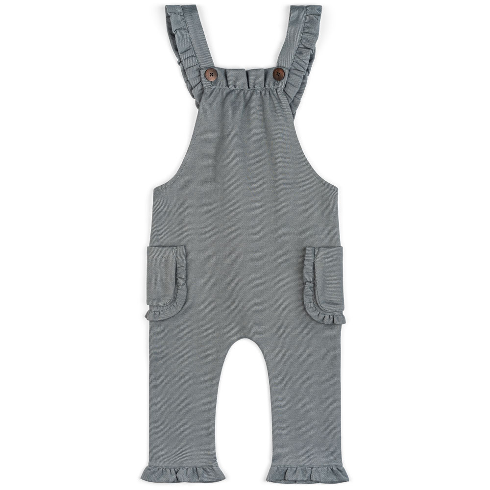 Baby Girl or Child's Ruffle Overalls in the Organic Cotton and Recycled Polyester Blend Denim Fabric by Milkbarn Kids