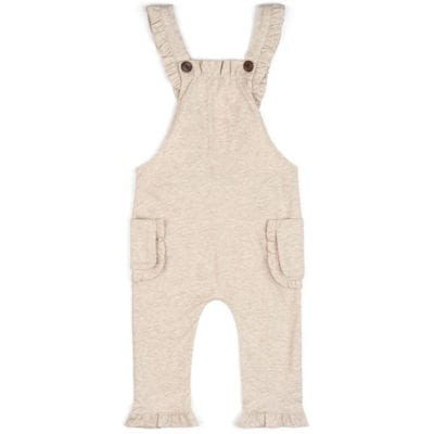Baby Girl or Child's Ruffle Overalls in the Organic Cotton Heathered Oatmeal Fabric by Milkbarn Kids