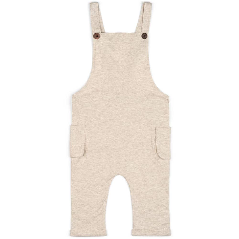 Baby or Child's Overalls in the Organic Cotton Heathered Oatmeal Fabric by Milkbarn Kids Front