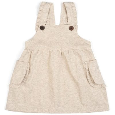 Baby or Child's Ruffle Dress Overalls in the Organic Cotton Heathered Oatmeal Fabric by Milkbarn Kids (Front)