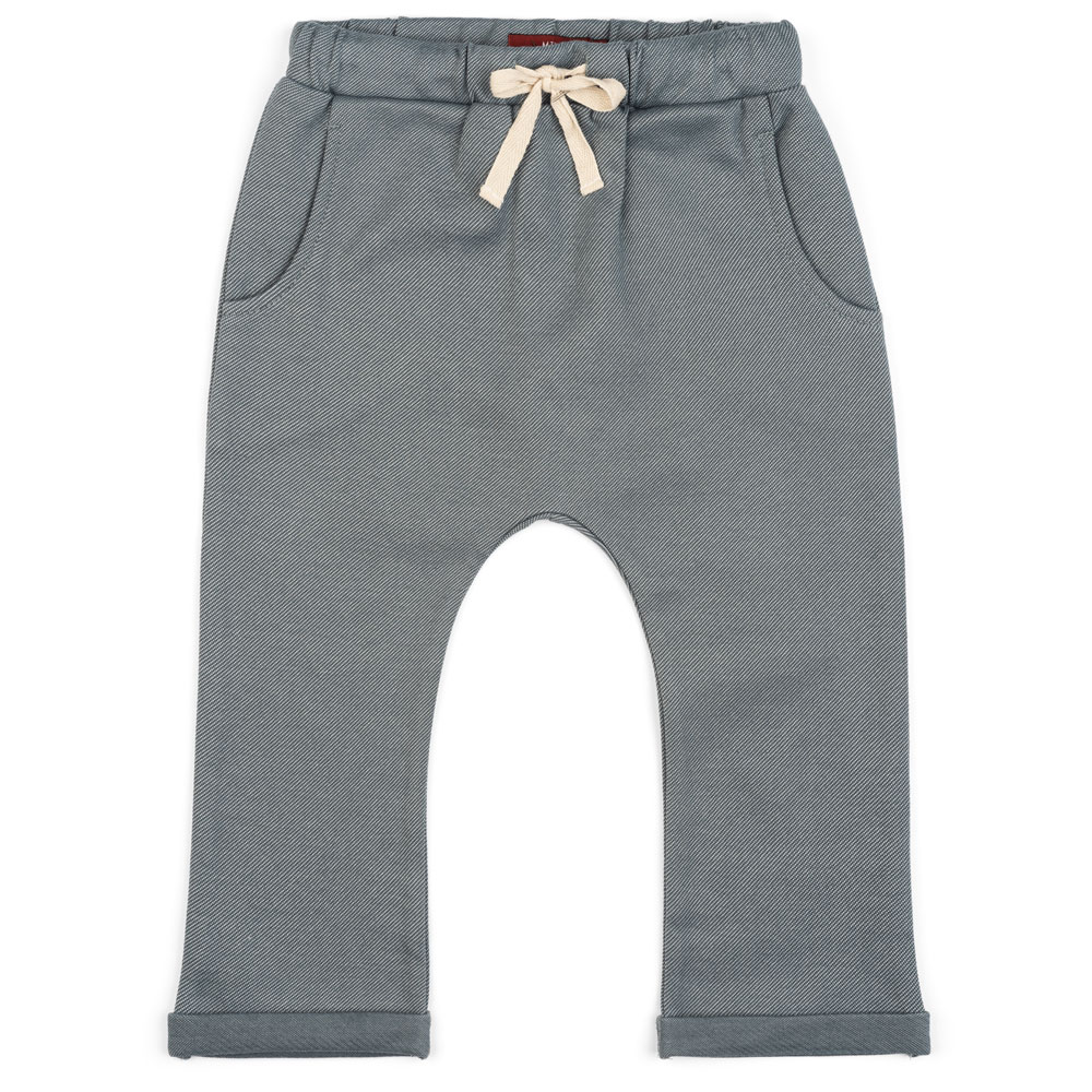 Baby or Child's Jogger and Lounge Pant in a Organic Cotton and Recycled Polyester Blend Denim Fabric by Milkbarn Kids