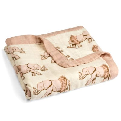 Folded Natural and Rose Color Big Lovey Blanket with the Tutu Elephant Wildlife Print Made of Organic Cotton and Bamboo by Milkbarn Kids