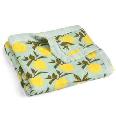 Folded Mint or Muted Green Big Lovey Blanket with the Lemon Citrus Print Made of Organic Cotton and Bamboo by Milkbarn Kids