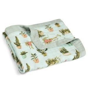 Milkbarn Kids Big Lovey Blanket in the Potted Plants print Folded
