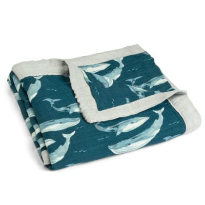 Unfolded Blue or Teal Color Big Lovey Blanket with the Blue Whale and Ocean Print Made of Organic Cotton and Bamboo by Milkbarn Kids