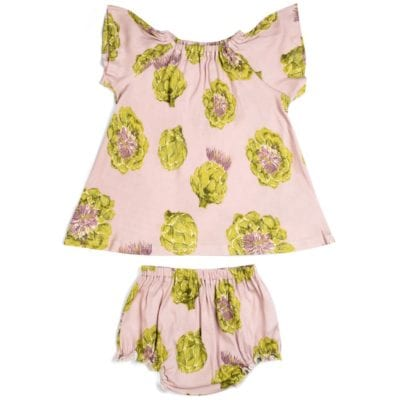 Rose or Light Pink Baby Girl Organic Cotton Dress and Bloomers with the Artichoke Vegetable Print by Milkbarn Kids