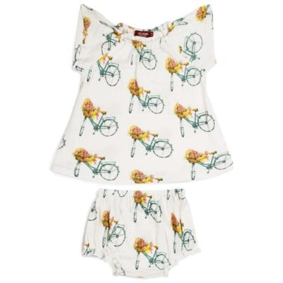 Milkbarn Dress and Bloomer Set in Bamboo Floral Bicycle print