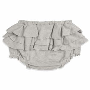 Baby Girl Ruffle Bloomer in the Grey Pinstripe Organic Cotton and Bamboo Blend by Milkbarn Kids (Backside)