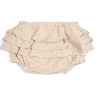 Baby Girl Ruffle Bloomer in the Organic Cotton Heathered Oatmeal Fabric by Milkbarn Kids (Backside)