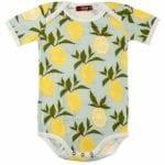 Milkbarn Kids Organic Cotton Baby One Piece or Onesie in the Lemon Citrus Print