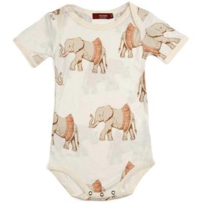Milkbarn Kids Bamboo Baby One Piece or Onesie in the Tutu Elephant Wildlife Print