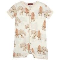 32071 - Milkbarn Kids Bamboo Baby Shortall, Baby Playsuit or Short Overalls in the Tutu Elephant Print