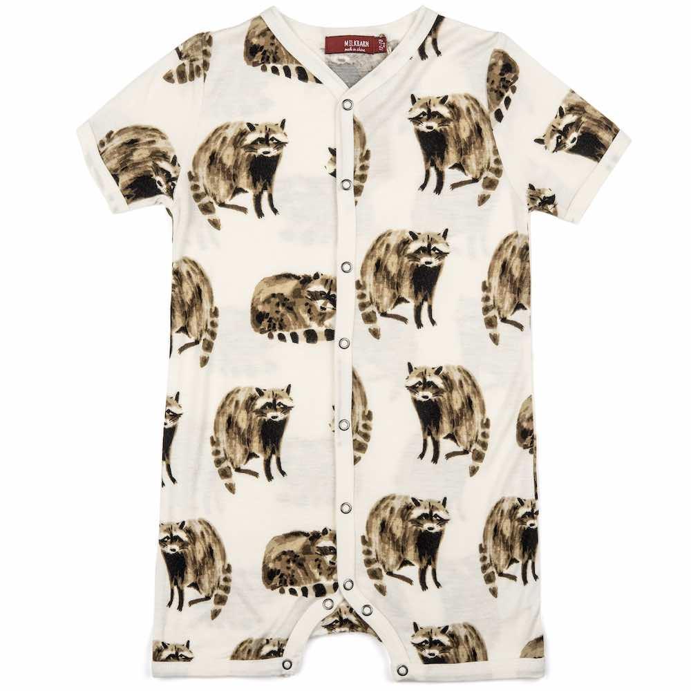 Milkbarn Kids Bamboo Baby Shortall, Playsuit or Short Overalls in the Raccoon Print