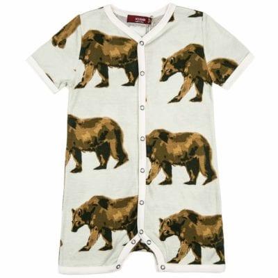 Milkbarn Kids Bamboo Baby Shortall, Playsuit or Short Overalls in the Bear Print