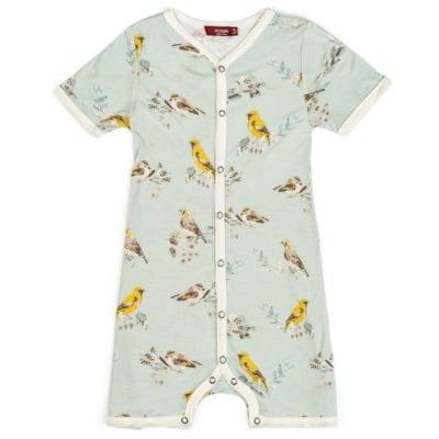 Milkbarn Kids Bamboo Baby Shortall, Playsuit or Short Overalls in the Blue Bird Print