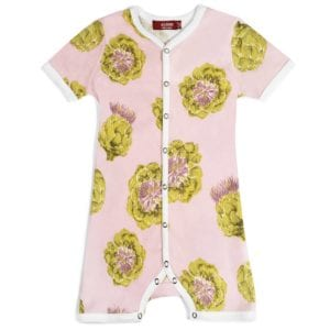 Milkbarn Kids Organic Cotton Baby Shortall, Playsuit or Short Overalls in the Artichoke Print