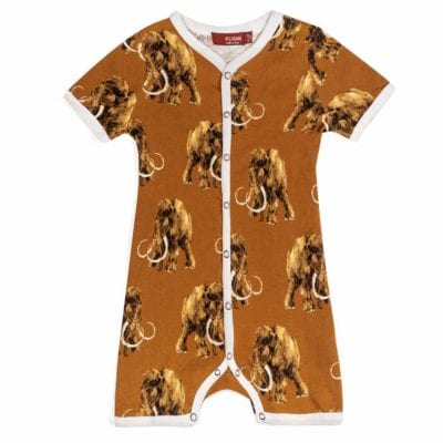 Milkbarn Kids Organic Cotton Baby Shortall, Playsuit or Short Overalls in the Woolly Mammoth Print