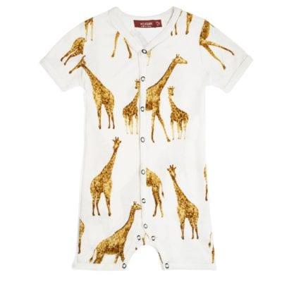 Milkbarn Kids Bamboo Baby Shortall, Playsuit or Short Overalls in the Orange Giraffe Print