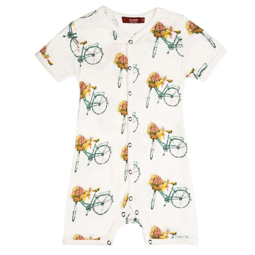 Milkbarn Kids Bamboo Baby Shortall, Playsuit or Short Overalls in the Floral Bicycle Print