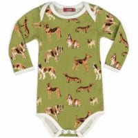 33105 - Milkbarn Kids Organic Cotton Baby Long Sleeve One Piece in the Green Dog Print