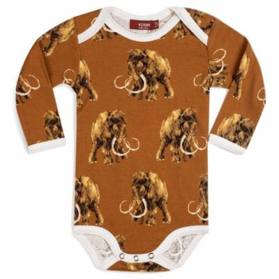 Milkbarn Kids Organic Cotton Baby Long Sleeve One Piece or Onesie in the Woolly Mammoth Print