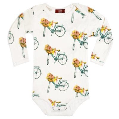 Milkbarn Kids Bamboo Baby Long Sleeve One Piece or Onesie in the Floral Bicycle Print
