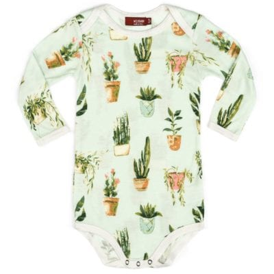 Milkbarn Kids Bamboo Baby Long Sleeve One Piece or Onesie in the Potted Plants Print