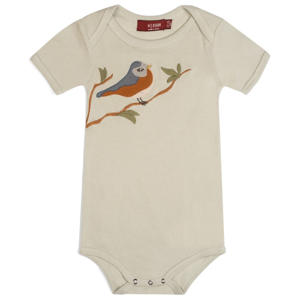 Natural or Beige Colored Organic Cotton Baby One Piece or Onesie with the Bird Applique by Milkbarn Kids