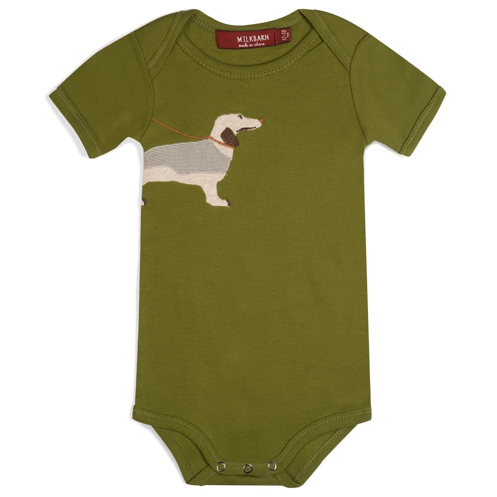 Green Color Organic Cotton Baby One Piece or Onesie with the Green Dog or Weiner Dog Applique by Milkbarn Kids
